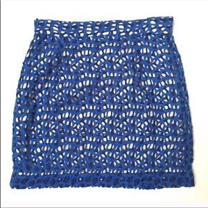 French Connection | blue crochet mini skirt size 4